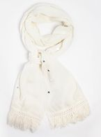 Womens Cream Mirror Boho Scarf- Cream