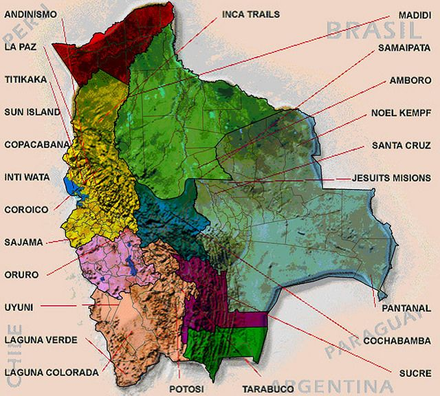 Bolivia mapa turistico