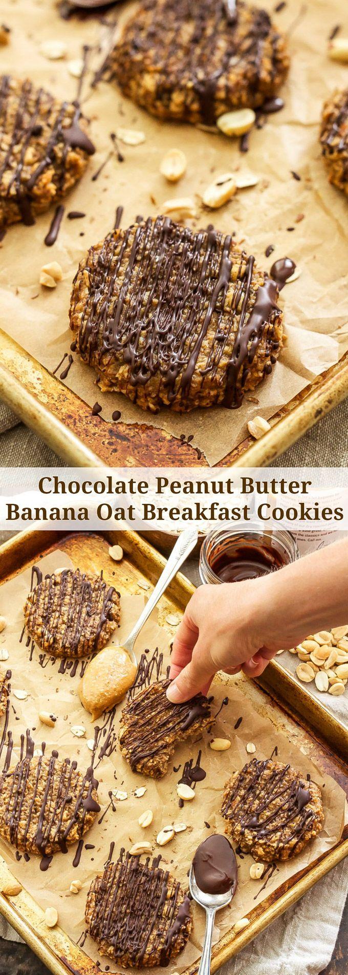 Chocolate Peanut Butter Banana Oat Breakfast Cookies | These tasty, gluten-free…