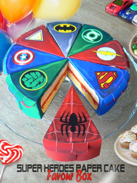 SUPER eroi 8 scatole torte di compleanno di Batman Superman Ironman Flash Green Lantern Spiderman - immediatamente scaricabile - carta