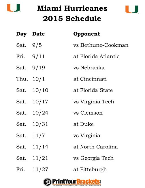 Printable Miami Hurricanes Football Schedule 2015