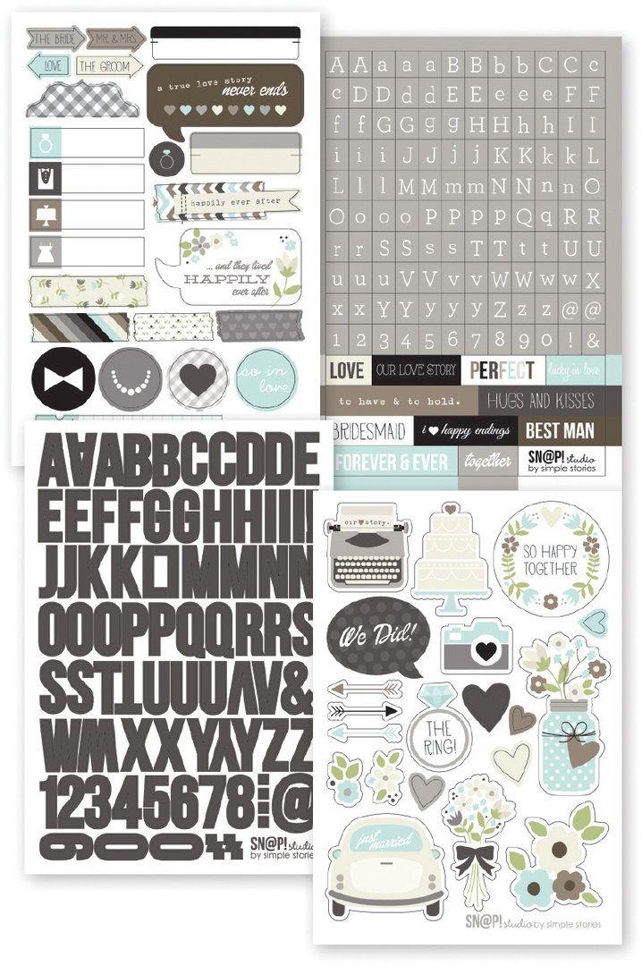 Simple Stories - Sn@p! Stickers: Wedding (257 Stück)