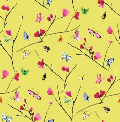 Mazarine (97533) - Albany Wallpapers - A stylish butterfly pattern bursting with confetti colours. Mazarine features multiple brightly coloured hand painted butterflies against rich coloured background. This is a non woven paste the wall product. Shown here in on a lime background - more colours are available. Please request a sample for true colour match.