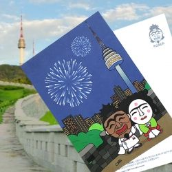 ::Korea Souvenir:: 하회탈 N서울타워 엽서 N Seoul Tower Postcard