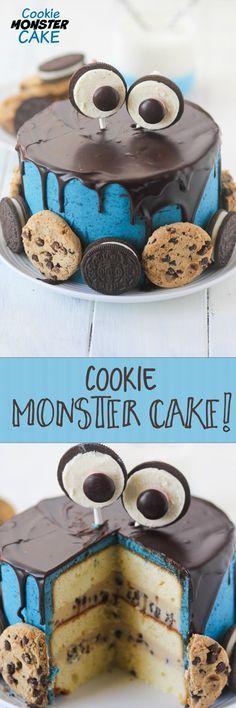 Divina esta versión de torta de Cookie Monster, fuera de lo común. #FiestaCookieMonster