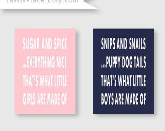 Twin Nursery Art  Sugar and Spice and Snips and Snails  Boy and Girl set of 2 Art Prints in Pink and Navy - Choose your color by YassisPlace