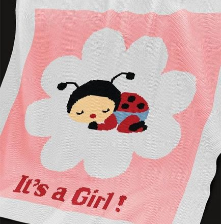 Knitting Pattern | Baby Blanket / Afghan - Ladybird Girl