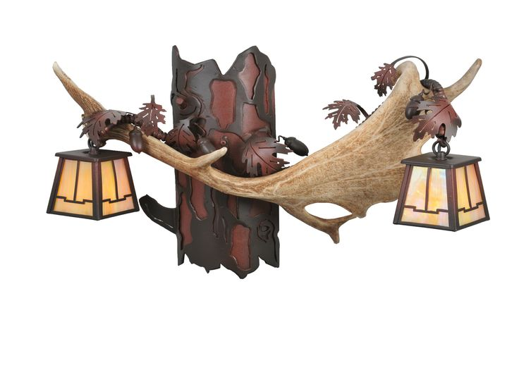 """23.5 Inch W Antlers Fallow Deer 2 Lt Wall Sconce - 23.5 Inch W Antlers Fallow Deer 2 Lt Wall Sconce Theme: RUSTIC LODGE Product Family: Antlers Fallow Deer Product Type: WALL SCONCES Product Application: TWO LIGHT Color: RUST/WRT IRON/BAI Bulb Type: HALOGEN Bulb Quantity: 2 Bulb Wattage: 60 Product Dimensions: 15""""H x 23.5W x 10""""DPackage Dimensions: NABoxed Weight: 18 lbsDim Weight: 43 lbsOversized Shipping Reference: NAIMPORTANT NOTE: Every Meyda Tiffany item is a unique handcrafted work of…"""