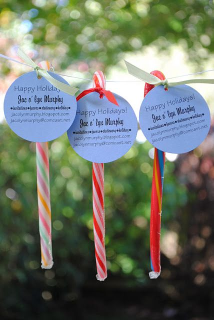 Candy Cane Marketing- cute to tie my card to and have at ...