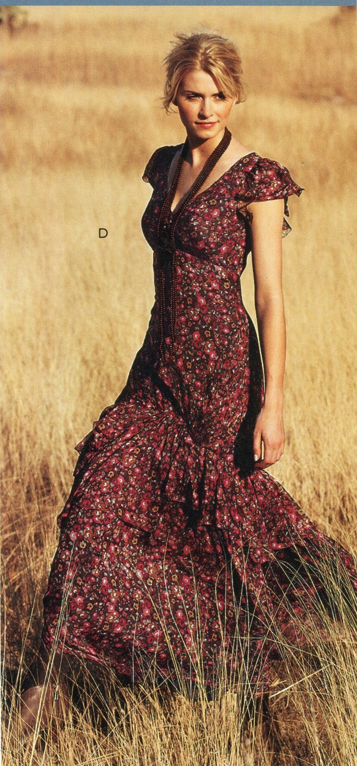 So fun to be walking through a field in a country dress with flutter sleeves.