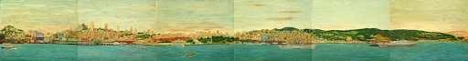 """""""Painting Panoramic View of San Francisco Bay"""" #1-6 (of 10): Painted on Alcatraz by inmate, John Paul Chase. This is 6 of the 10 total panels he painted c.1950-55, stitched together from images found on the National Park Service Website: http://www.nps.gov/history/museum/exhibits/alca/work.html. I have no knowledge about the copyrights associated with these images."""