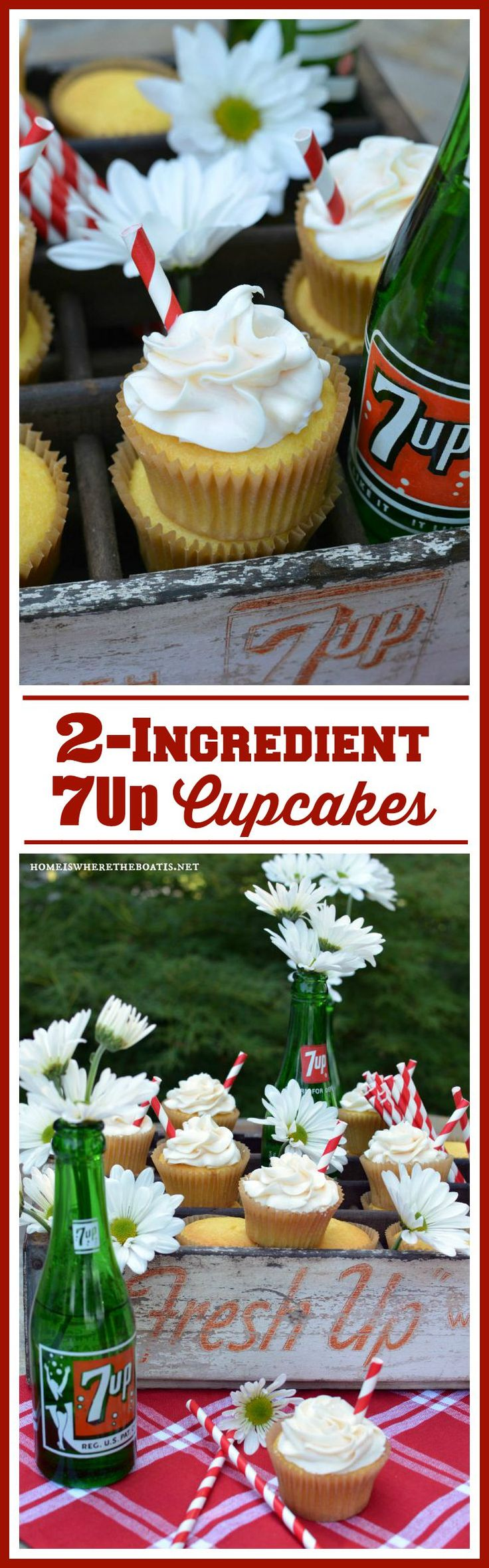 2-Ingredient 7 Up Cupcakes! Easy lemon cupcakes, ideal for when you need a short cut and are too busy to bake! No one would ever guess you whipped these together in 5 minutes, using only 2-ingredients~ 3 if you count the straws!
