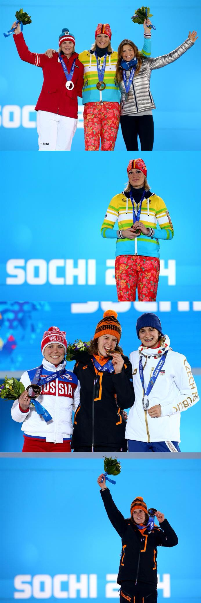 Sochi 2014 Day 4 / Medal Ceremony / (L-R) Silver medalist Nicole Hosp of Austria, gold medalist Maria Hoefl-Riesch of Germany and bronze medalist Julia Mancuso of the United States celebrate during the medal ceremony for the Alpine Skiing Women's Super Combined, (L-R) Bronze medalist Olga Graf of Russia, gold medalist Irene Wust of the Netherlands and silver medalist Martina Sablikova of the Czech Republic celebrate during the medal ceremony for the Ladies' 3000m speed skating