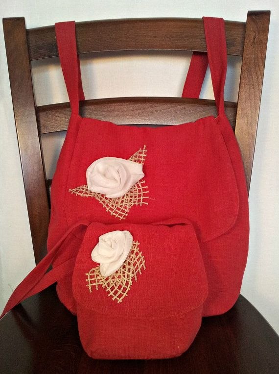 Red tote bag set made from red cotton fabric decorated with a white flower,matching bags,mother bag,little girl bag,small pouch, big tote