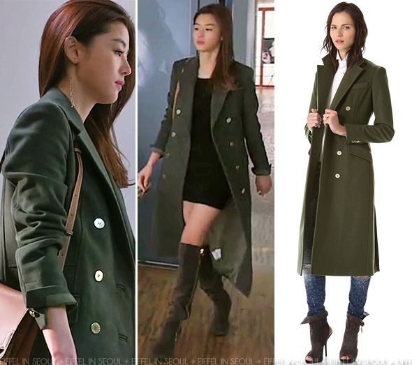 Gianna Jeon Ji Hyun (전지현) wore a double-breasted military coat from Balmain with a black mini dress.  Her look was accessorized with Giuseppe Zanotti grey suede thigh-high boots, 'Marcello de Cartier' shoulder bag, Gentle Monster sunglasses and Didier Dubot jewels.