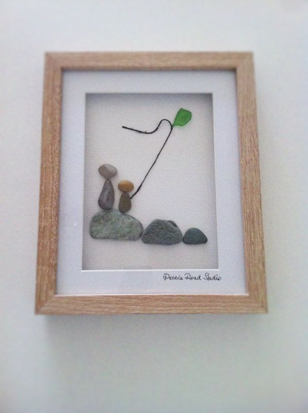 Kite Flying Pebble Art with sea glass kite by Pebble Road Studio - Father's Day by PebbleRoadStudio on Etsy