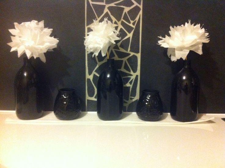 Diy deco cuisine peinture bouteille + fleurs papier