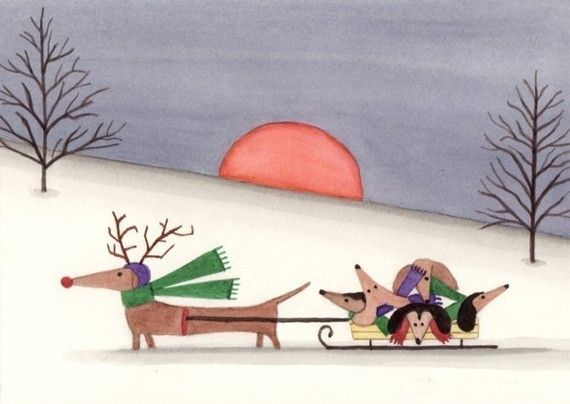Dachshund (doxie) family takes a sled ride / Lynch signed folk art print via Etsy