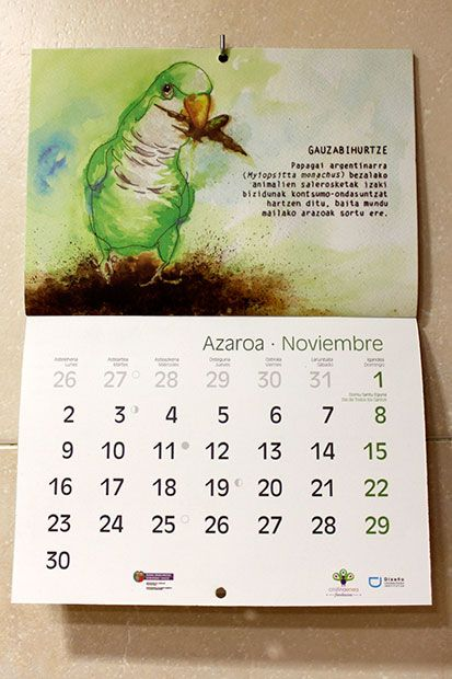 Calendario de Fundación Cristina Enea para 2015. Mes de noviembre.- Patricia Pérez Redondo. Acuarela líquida y pilot