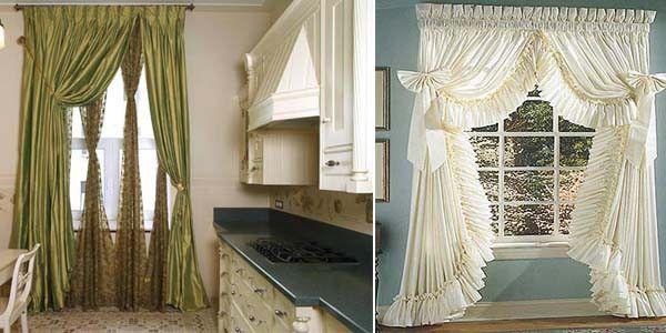 Длинные шторы для кухни