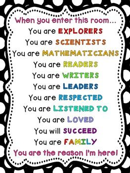 Here is a version of the 'When You Enter This Room' Poster. In the download, you get it in all of the primary colors - red, orange, yellow, green, blue and purple. Also included is a black poster with rainbow letters.You can print as is or print as a poster and tape together.