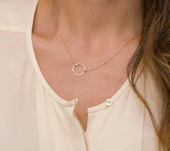 Dainty Circle Necklace / Karma Necklace, 14k Gold Fill or Sterling Silver, Delicate Chain / Dainty Circle Outline on Etsy, $27.00