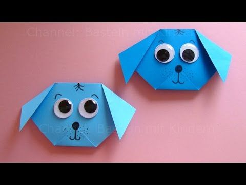Origami: Hund falten mit Papier - Einfachen Hund Basteln mit Kindern - D...