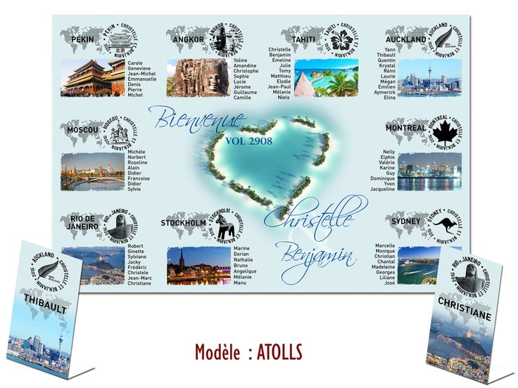 Plan de la table – Atolls du paradis – Wedding decorations