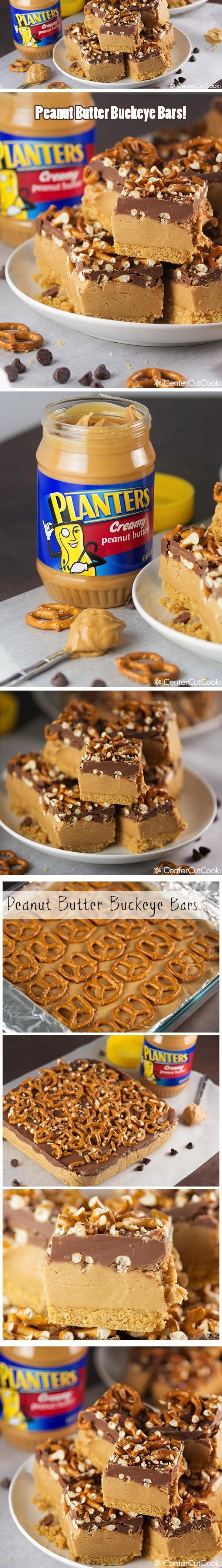 PEANUT BUTTER BUCKEYE BARS with Pretzels combine sweet with salty in this no bake dessert bar that kids and adults will love!