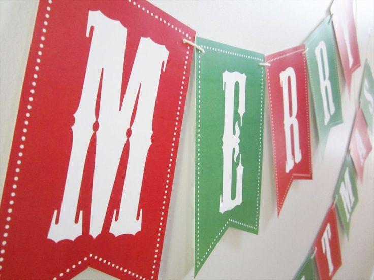 free Christmas/Holiday Bunting Banner printable