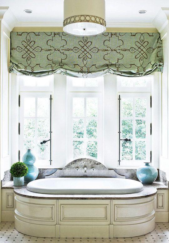 bath: Bathroom Design, Windowtreatments, Ideas, Feminine Bathroom, Window Treatments, Master Bath, Roman Shades, Valance