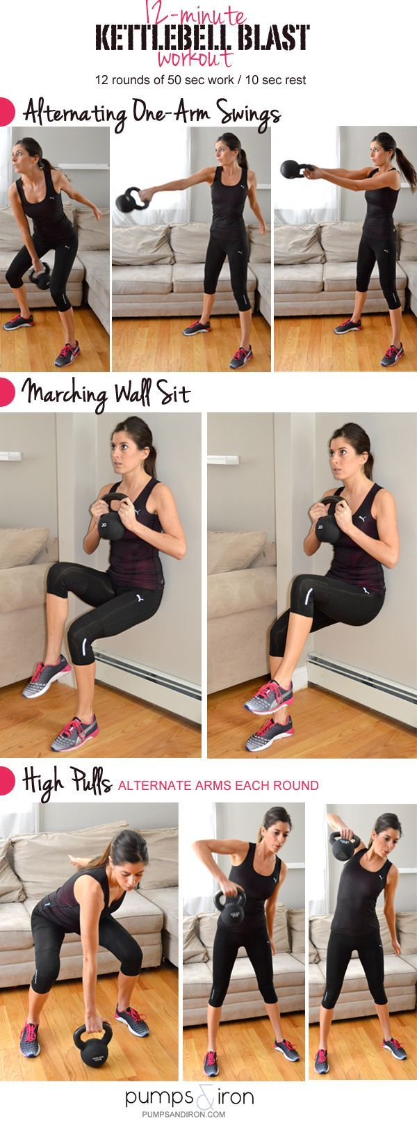 12-Minute Kettlebell Blast Workout. Works quads, hamstring, flutes, lower back, upper back, shoulders, triceps and biceps. It's the ultimate full body workout for the time crunched