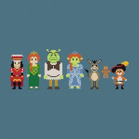 Shrek (Lord Farquaad, Princess Fiona, Shrek, Princess Fiona (Ogre), Donkey, Gingerbread Man, & Puss in Boots) inspired cross stitch pattern PDF