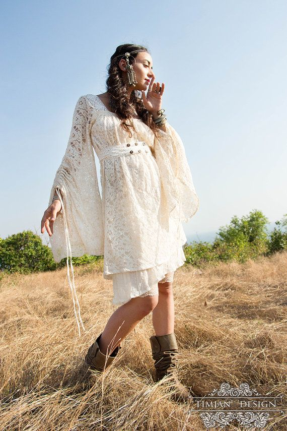 EMPRESS BOHEMIAN DRESS - Lace Hippie Boho Wedding Bride Romantic Casual Vintage Shabby chic Plus size Gypsy Ethnic - Off white Cream  Size: XS/S, M/L and XL/XXL  Made to order: Our order waiting list is currently 1-3 weeks. Please provide us phone number for the courier option from our workshop in Goa, India. *************************************************************** MATERIALS: Our Empress Slant dresses are made from a super light gauze as a bottom layer and a medium light cotton/nylon…