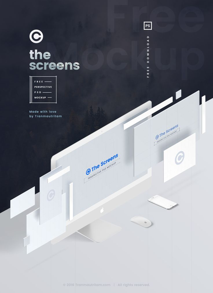 The Screens - Free Perspective PSD Mockup Template on Behance