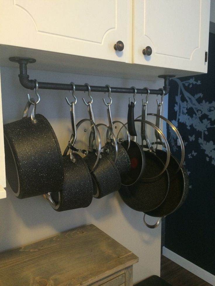 Pots and pans galvanized pipe industrial hanger with s hooks underneath kitchen cabinets