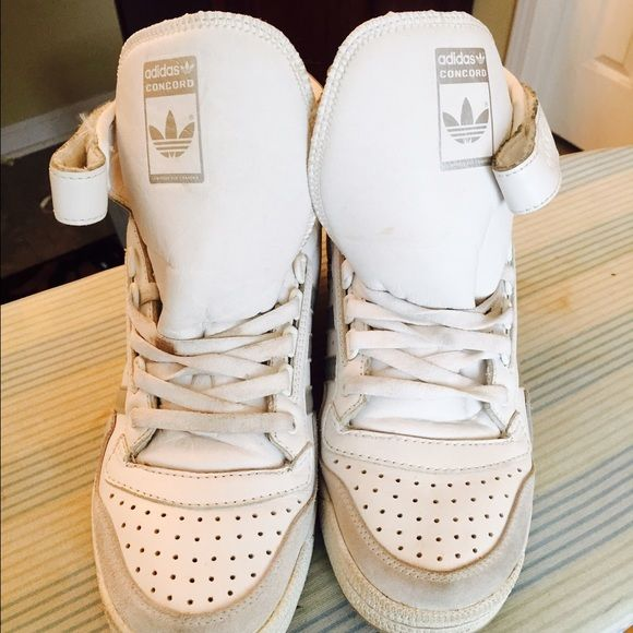 Adidas concord sneakers Great pair of Adidas concord sneakers in good condition little wear just need a little cleaning. SALE PRICE FOR THE NEXT 24 HRS!!!!! Adidas Shoes Sneakers
