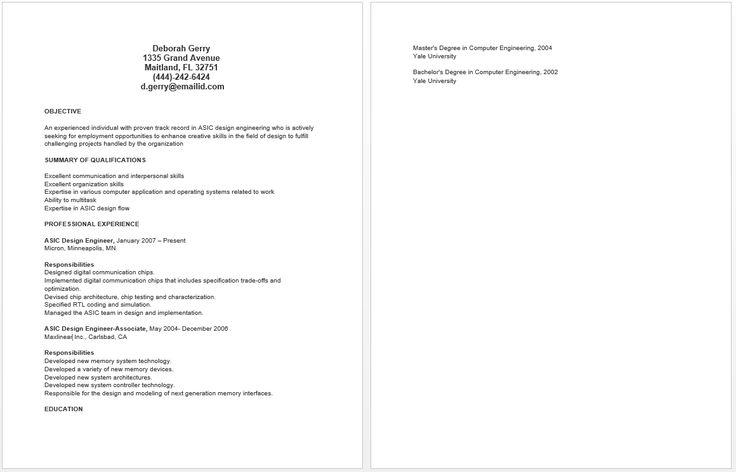 ASIC Design Engineer Resume resume sample Pinterest - design engineer resume