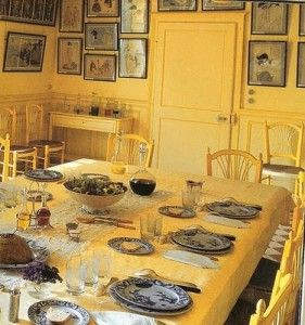Monets Yellow Dining Room with Woodblock Prints, and Creil 'Japon' Dinnerware