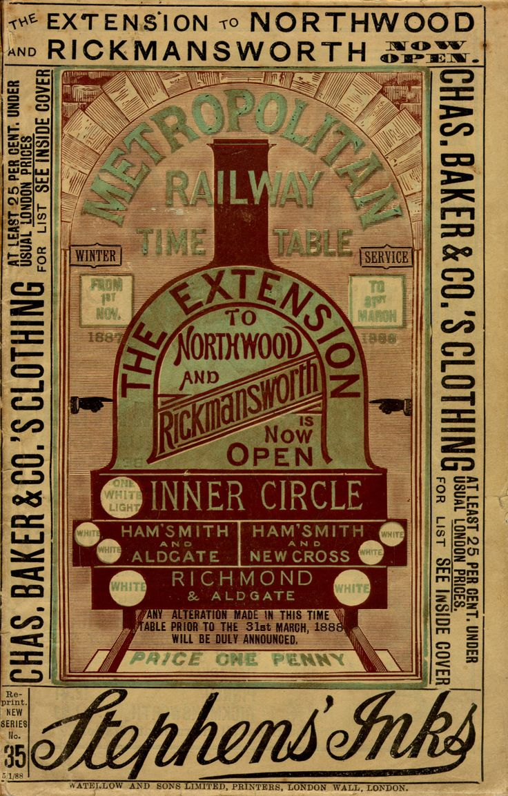 Vintage London Transport Museum poster: Timetable for the Metropolitan Railway