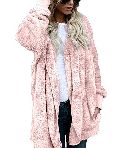 0d3654dc46 FOUNDO Women Fuzzy Fleece Jacket Open Front Hooded Cardigan Coat Outwear  Pockets  clothing  fashion  cheapdeals
