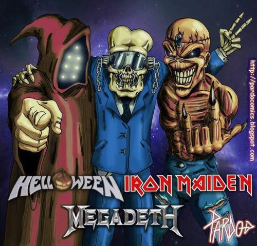 Heavy Metal Mascots from Left to Right Jack O Lantern from Helloween, Vic Rattlehead from Megadeth, and Eddie from Iron Maiden