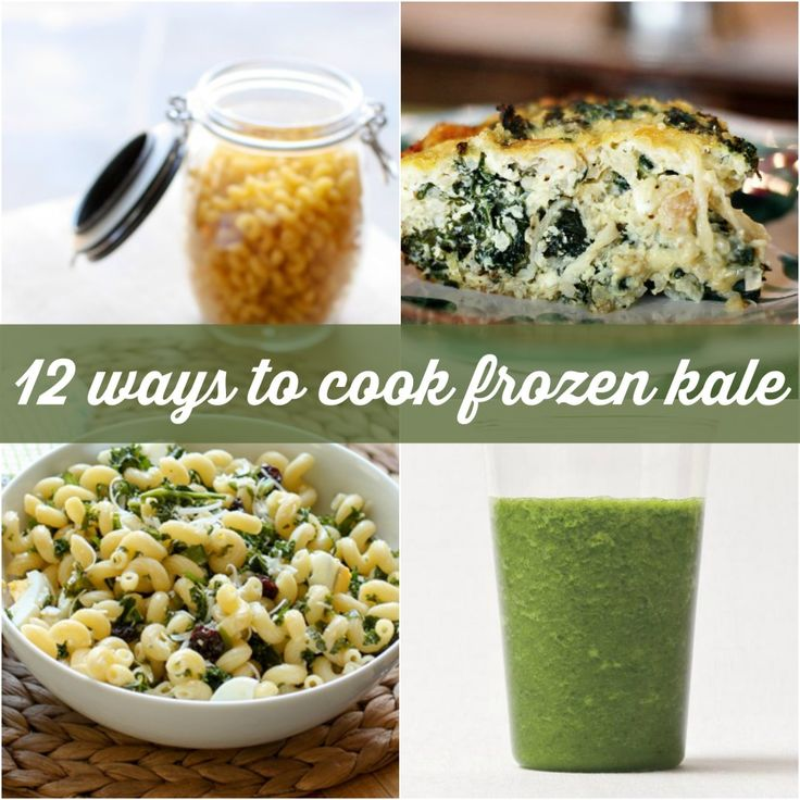 12 delicious and healthy ways to cook frozen kale for easy weeknight dinner meals. From soup to smoothies to pasta, there's a recipe for everyone! via @danielleomar