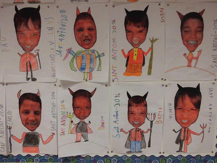 Vam fer una foto de cada alumne fent cara de dimoni, la van pintar amb aquarel·la vermella i es van dibuixar el cos.