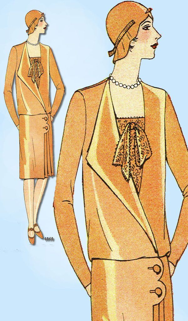 Ladies Home Journal Sewing Pattern 6060 Misses' Flapper Street Dress Pattern Found in the Spring 1929 Catalog Auction Does Not Come with Catalog Pages Those are Digital Scans for Your Information Fact