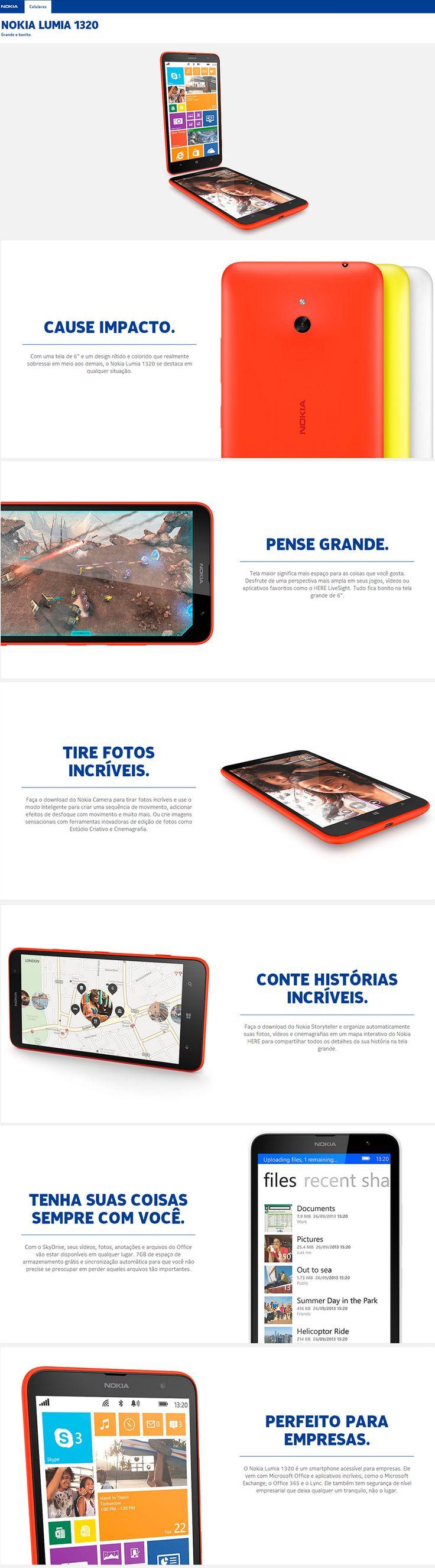 """Smartphone Lumia 1320 Preto Tela 6"""", 4G+WiFi, Windows Phone 8, Câmera 5MP, Dual Core 1Ghz, Memória 8GB - Nokia"""