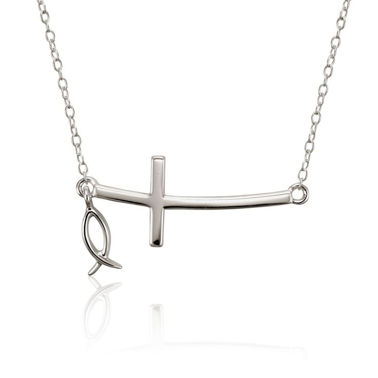 Christian Faith Sterling Silver Sideways Cross Necklace