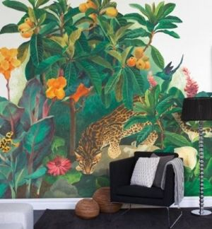 Jungle Lounge  (P031402-8) - Mr Perswall Murals - A bold stylised jungle scene with lush foliage, flowers, birds and frogs and ocelot.  Total mural size 3.6m wide and 2.65m high.