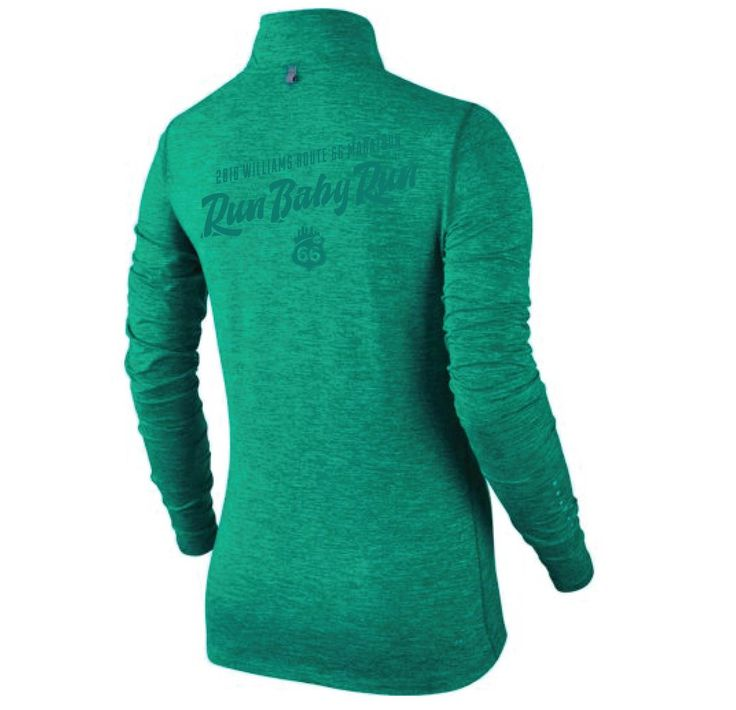 Run Baby Run! #RT66Run 2016 Williams Route 66 Marathon - Women's Nike Element 1/2 Zip - Teal Heather -  685910-351RT66