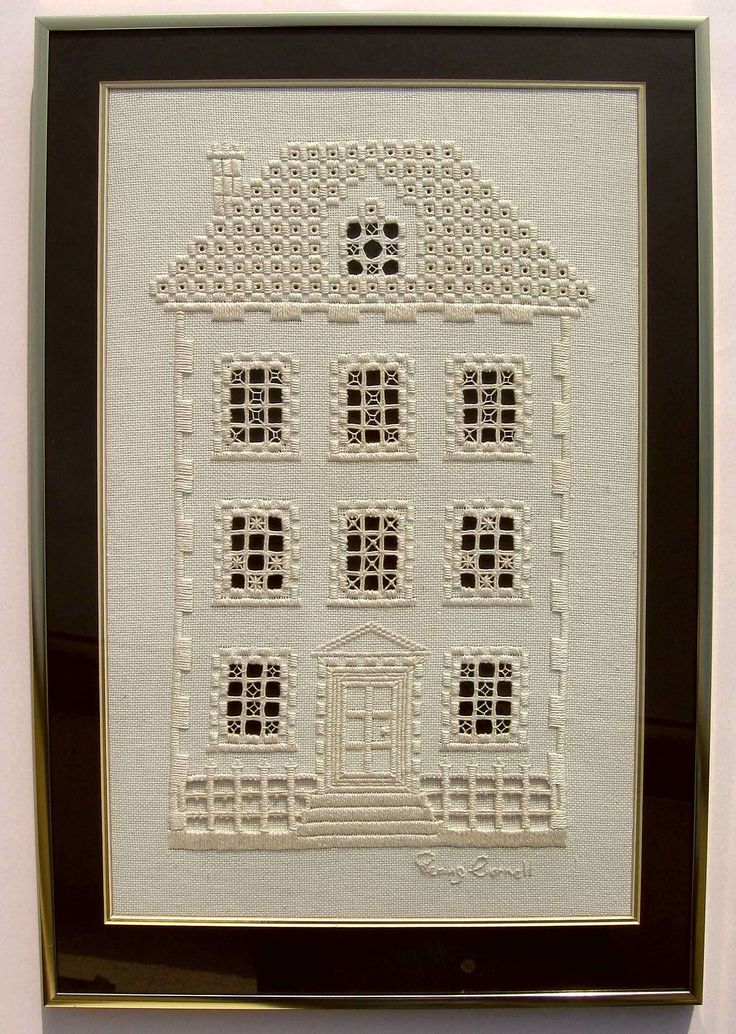 "Hardanger house. This concept would be fun to do with each window having a small photo of ancestors... and the house being a BIT larger so you could have a sort of ""family tree' in the form of a house. Hmmm I will have to think on this some more."